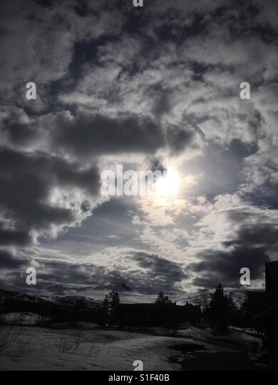 Dramatic sky up in the mountains. - Stock Image