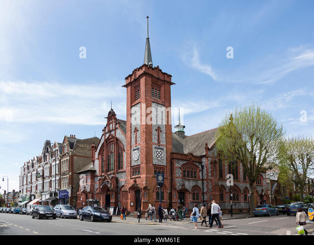 Muswell Hill Broadway with a former church, Muswell Hill, London, England, United Kingdom - Stock Image