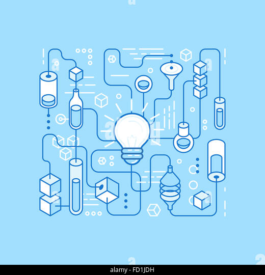 Idea generating process - infographics design elements in trendy linear style - Stock Image