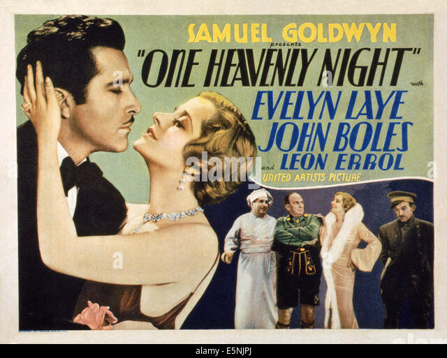 ONE HEAVENLY NIGHT, US lobbycard, John Boles (left), Evelyn Laye (second left)), Leon Errol (third right), 1931 - Stock Image