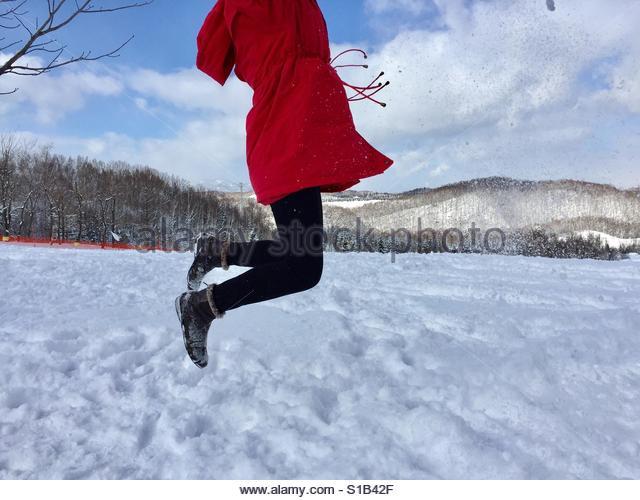 Jump in snow land ! - Stock-Bilder