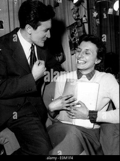 Actress Daniele Delorme with writer Guy Hauray - Stock Image