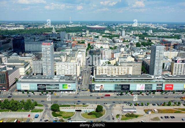 The view of the city towards the Wisla from the top of the Palace of Culture and Science in Warsaw, Poland, central/eastern - Stock Image