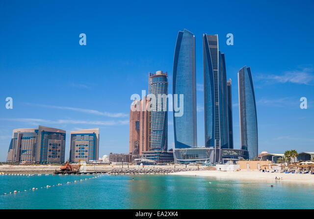 Etihad Towers, Abu Dhabi, United Arab Emirates, Middle East - Stock Image