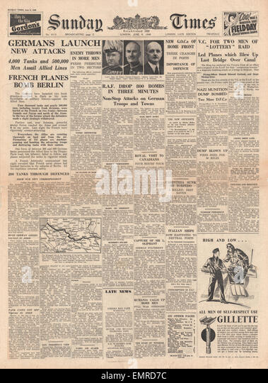 1940 front page Sunday Times German forces cross River Aisne but with heavy losses French naval planes bomb Berlin - Stock Image
