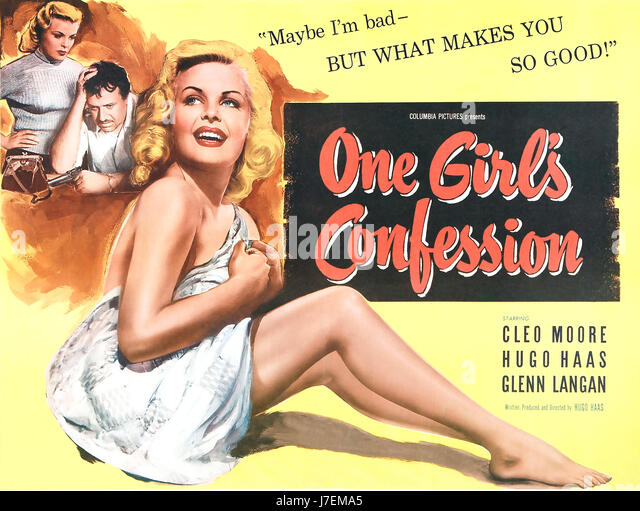 ONE GIRL'S CONFESSION Poster for 1953 Columbia film with Cleo Moore - Stock-Bilder