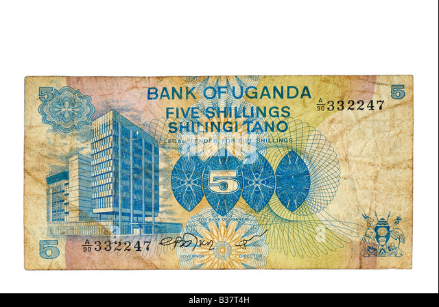 Used Bank Note, Uganda 5 Shillings, East Africa Currency from 1979 - Stock Image