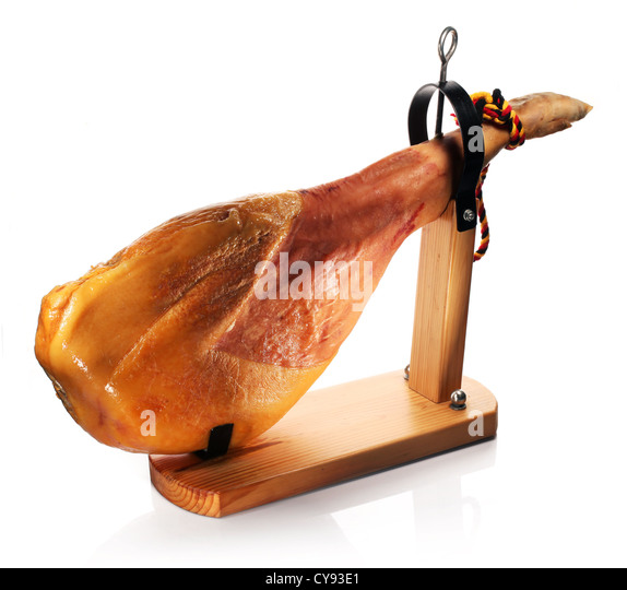 Ham on a wooden board on a white background. - Stock Image