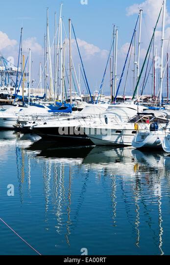 Yachts in Larnaca Marina, Cyprus. - Stock Image