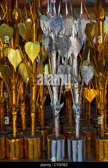 Tone Poh are essential at every Buddhist ceremony in Laos. The trees are  embellished with cash at special Buddhist - Stock Image