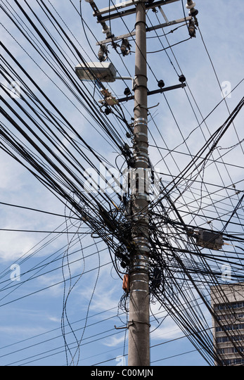 Tangle of electricity and telephone wires, Quito, Ecuador - Stock Image