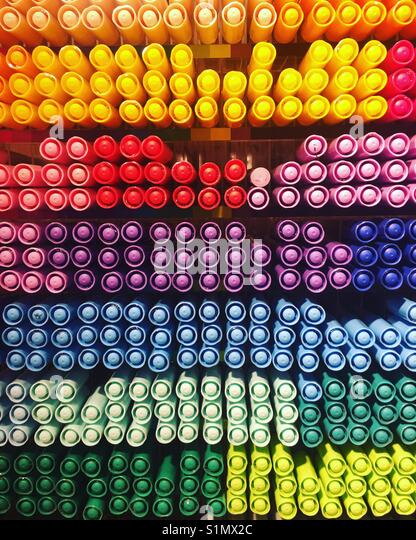 colourful marker pens - Stock Image