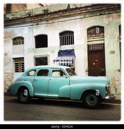 Old mint green car Havana Cuba - Stock Image