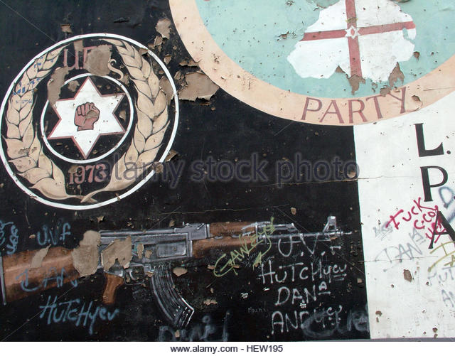 Shankill Road Mural -UDP Rifle, LPA 1973, West Belfast, Northern Ireland, UK - Stock Image