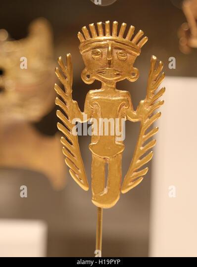 Figure pendant. Colombia. Tolima culture. 5th-10th century. cast gold. Pre-Columbian art. - Stock Image