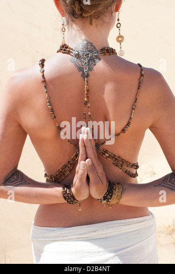 Reverse Namaste prayer yoga pose. - Stock Image