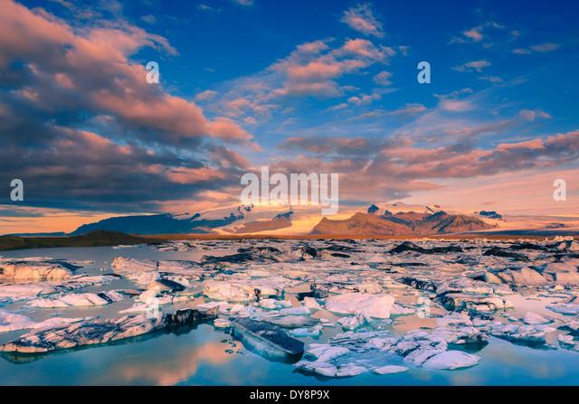 Sunrise at Jokulsarlon Glacier lake, south coast, Iceland - Stock Image