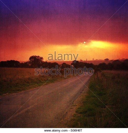 Vibrant rural sunset - Stock Image