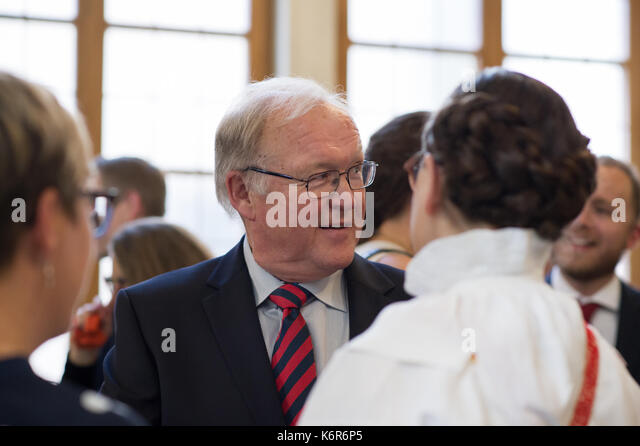 Stockholm, Sweden. 12th Sep, 2017. Opening of the Riksdag. Mingle and interviews after the session. Former PM Goran - Stock Image