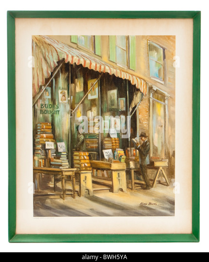 Vintage framed print of 'Antique Shops' painting by Alex Blum - Stock Image