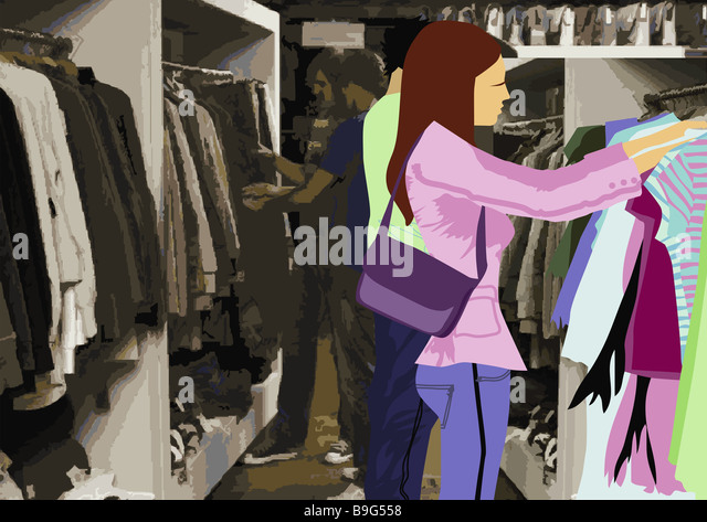 Illustration boutique people young clothing looks at department store business shopping centers woman handbag men - Stock Image
