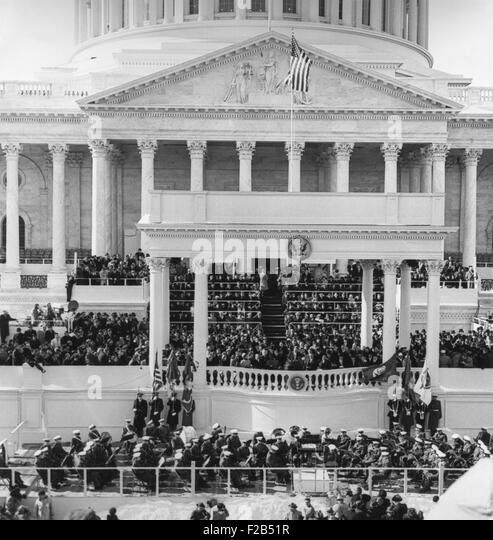 Inauguration of John Kennedy at East Portico, U.S. Capitol Building. President John F. Kennedy delivering his Inaugural - Stock Image