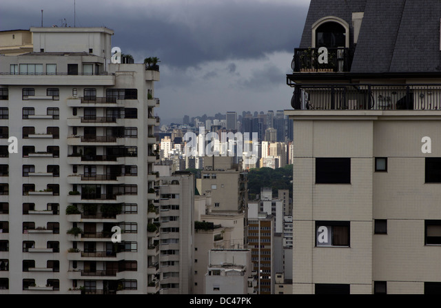 An atmospheric aerial view of skyscrapers in Sao Paulo, Brazil, February 2013. - Stock Image