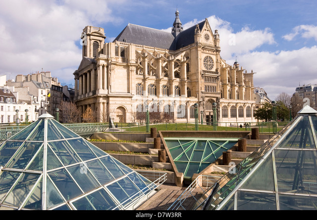 St. Eustache Church in the Halles District, Paris, France - Stock Image