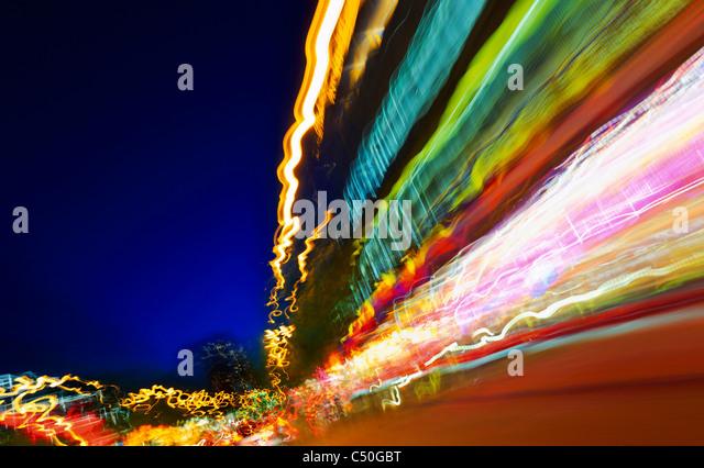 Blurred lights, traffic, light art, lights, lighting tracks, dynamic, colorful, Hamburg, Germany, Europe - Stock Image