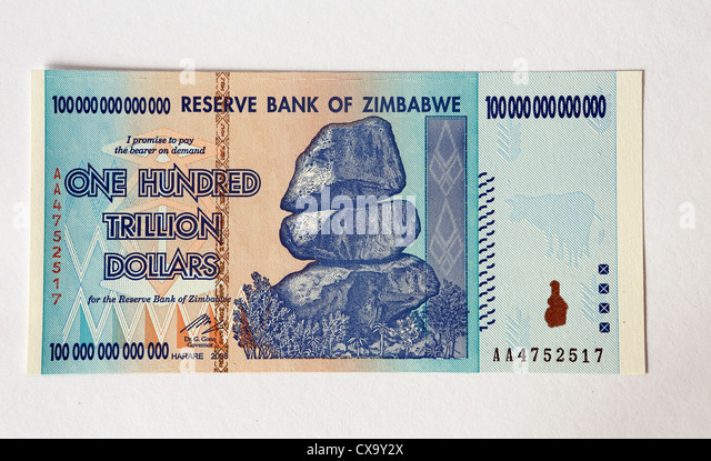 Reserve Bank of Zimbabwe One Hundred Trillion Dollars bank note. - Stock Image
