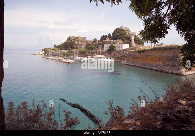 Boats moored near Old Fortress, Kerkyra, Corfu, Greece, Europe, - Stock Image