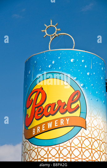 Large Pearl brewery beer can outdoor advertising the Pearl brewery San Antonio Texas tx - Stock Image
