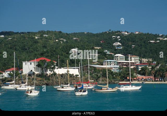 US Virgin Islands St. John Cruz Bay view of Cruz Bay Harbor USVI002 - Stock Image