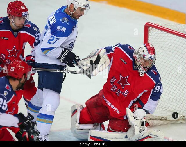 Moscow, Russia. 19th Nov, 2016. CSKA Moscow's Konstantin Alekseyev, Barys Astana's Kirill Petrov and CSKA - Stock Image
