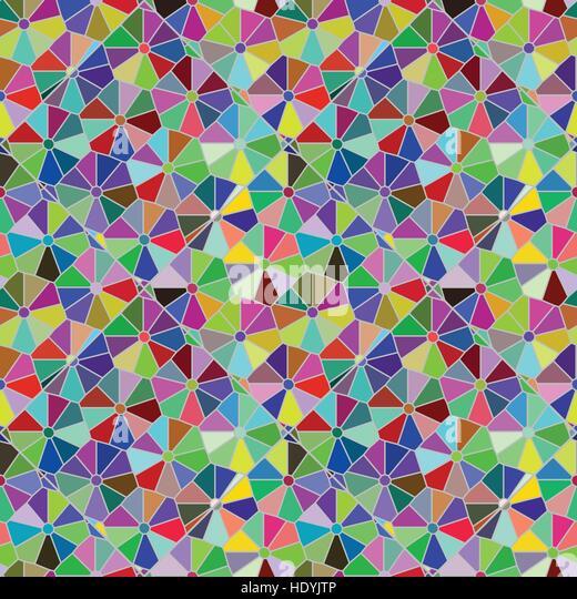Polycolour Mosaic Citrus Pattern - Stock Image
