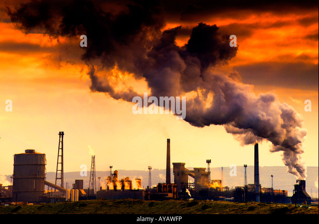 Smoking chimney showing pollution - Stock Image