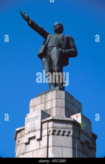 Russia former Soviet Union Kostroma still standing Lenin monument commemorates Romanov Dynasty - Stock Image