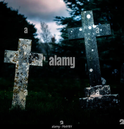 two crosses on a graveyard - Stock Image