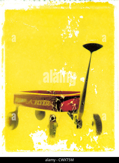 Radio Flyer red wagon. Photo illustration from polaroid transfer. ©mak - Stock Image