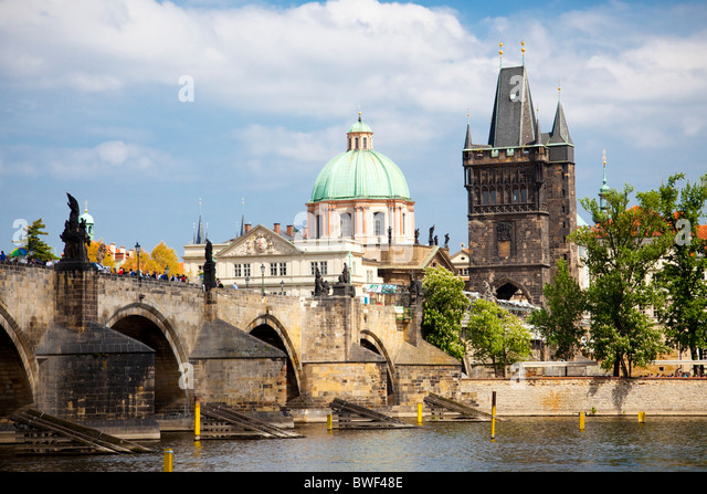 Charles Bridge and the dome of the Church of Saint Francis, Prague Czech Republic 2010 - Stock Image