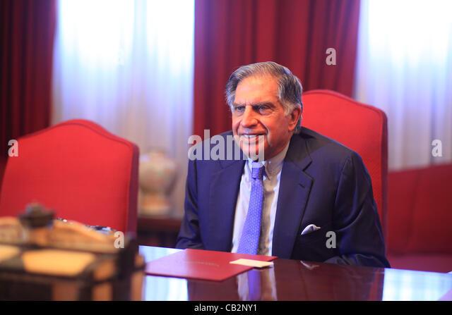 May16,2012 - Mumbai, India :   Portrait of Indian industrialist Rata Tata, chairman of the Tata empire at the Bombay - Stock-Bilder