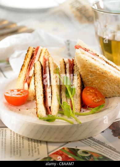 Spanish ham and Manchego toasted sandwich - Stock Image