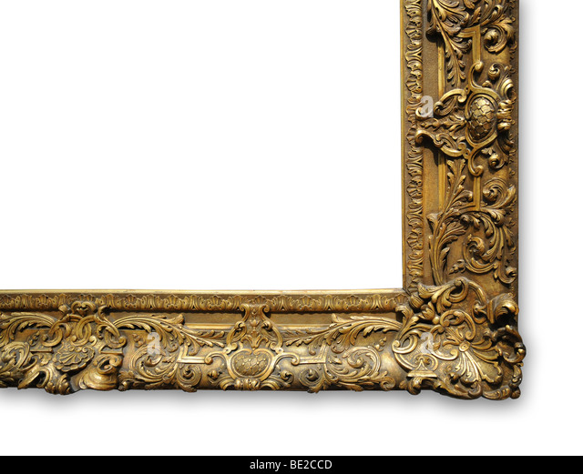 Corner of vintage gold frame with space for ad - Stock-Bilder