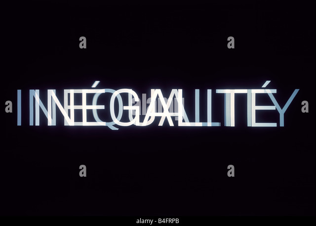 Double exposure of the French word inequalité and the English word inequality. - Stock Image