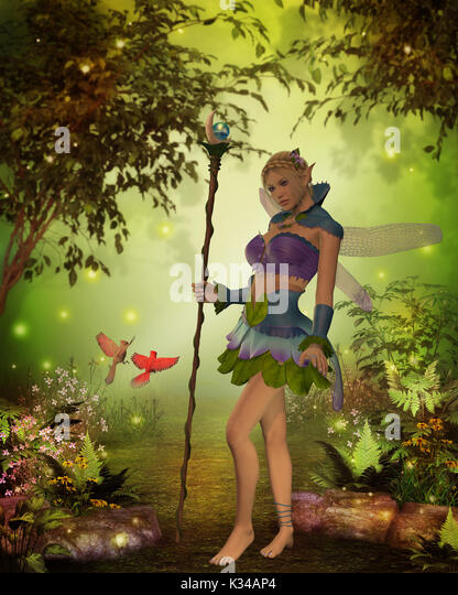 A male and female Cardinal bird try to get the attention of Fairy Katria in the magical forest. - Stock Image