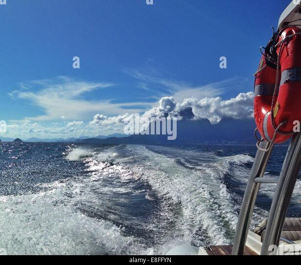 View of wake from back of boat - Stock Image