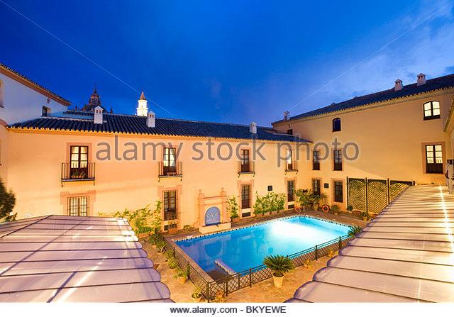 Carmona, inexpensive 4 star hotel Alcazar de la Reina in Carmona, Province Sevilla, Andalucia, Spain - Stock Image