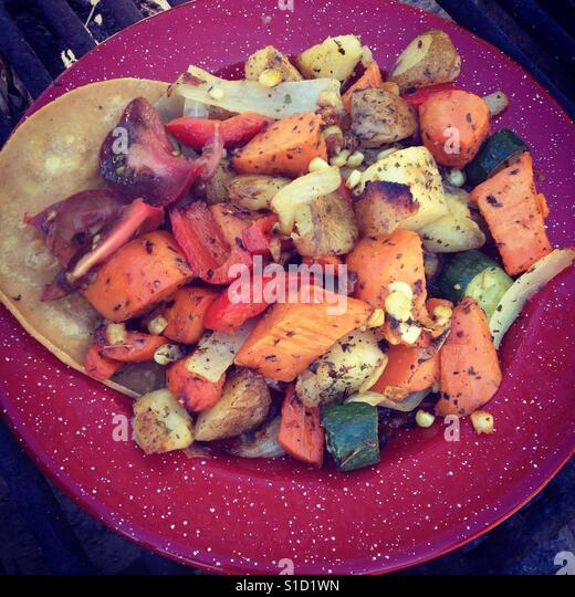 Camp Food Potatoes - Stock Image