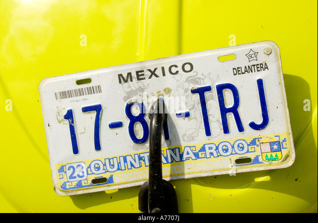 Mexico Cozumel car license plate - Stock Image