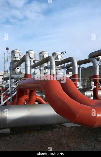 Pipe of geothermal power station - Stock Image